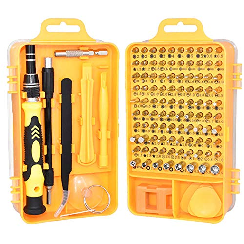JUNSHUO 115 en 1 Juego de Destornillador de Precisión,Portatil Profesional Magnético Kit de Herramientas de Reparación de Bricolaje para Celulares/Laptops/Gafas/Relojes y Electrónicos (Amarillo)