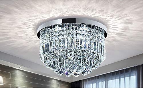 Bestier Moderne Klarem Kristall Regentropfen Kronleuchter Beleuchtung Unterputz LED Deckenleuchte Leuchte für Esszimmer Badezimmer Schlafzimmer Wohnzimmer E14 Glühbirnen Erforderlich H25cm X D50cm