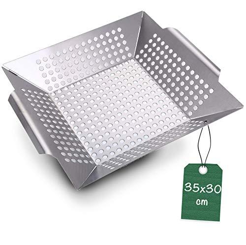 Praknu Grillkorb Grillschale für Gemüse, Fleisch 3,8 L - Edelstahl - Spülmaschinenfest - Für alle Grillarten