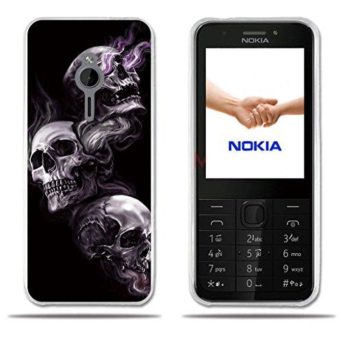 FUBAODA für Nokia 230 Hülle, [DREI Schädel] Transparente Silikon Clear TPU 3D zeitgenössischen Chic Design Mode Kreatives Design Slim Fit Shockproof Flexible Stilvolle Silikon für Nokia 230