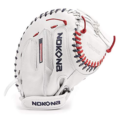 NOKONA A-V3250C-WH Handcrafted AmericanKip Baseball Fastpitch Catcher's Glove - Right Hand Throw, Closed Web, Adult 32.5 Inch Mitt, Made in The USA