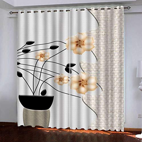 QDDRL gordijnen voor ramen, woonkamer, ondoorzichtig, geïsoleerd, waterdicht, met oogjes voor de slaapkamer, 2 panelen, bloemenpatroon, lichtgeel