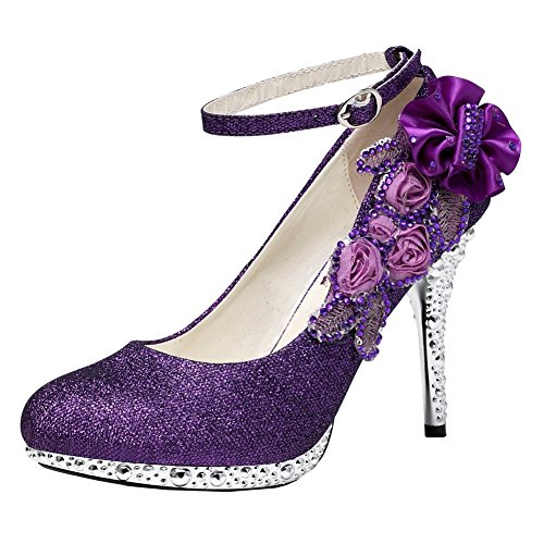 getmorebeauty Women's Glitter Purple Lace Flower Sequins Strappy Closed Toes Dress Wedding Shoes (US 7, Purple Flower)