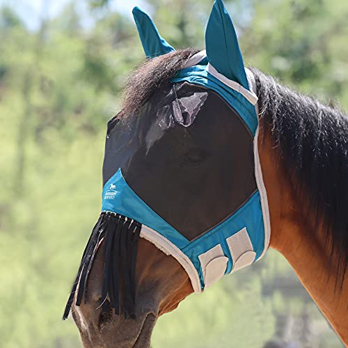 Harrison Howard Fliegenmaske mit Ohren und Nasenfransen Blaugrün Vollblut (M)