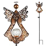 Starryfill Solar Garden Stake Lights Outdoor Bronze Angel Crackle Glass Globe Stake Metal Lights Waterproof Warm White LED for Garden Lawn Patio or Courtyard