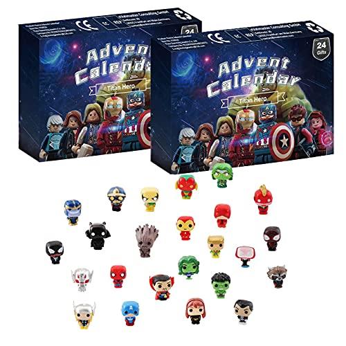 Figuras de acción de superhéroes Calendario de Adviento 2021 Juego de juguetes,  Calendario de Adviento Fidget,  Calendario de cuenta regresiva de Navidad de 24 días Caja de figuras de superhéroes- 2PCS
