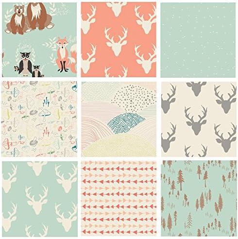 fabric Fox fabric bear 12 meter Fawn fabric DOE Green Hello Bear fabric owls fabric fabric Art Gallery Fabrics patchwork fabric