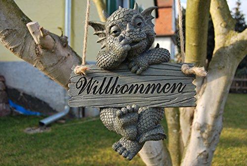 Süsser Gartendrache Willkommen zum hängen Drache Figur Gartenfigur 27 cm