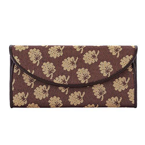 Signare Tapiz Porta Tarjetas identificativas Carteras de Mujer con diseño Floral (Jane's Oak)