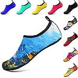 VIFUUR Chaussures de Sport Nautique Pieds Nus à séchage Rapide Aqua Yoga Chaussettes Slip-on pour Hommes Femmes Enfants Mer Profonde EU36/37
