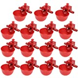 Happyyami 10PCS Automatic Chicken Drinkers Waterers Poultry Watering Cups Bowls Drinking Dispenser Red Plastic Backyards Water Feeder for Pigeons Hen Duck Bird (15pcs 7 x 6.5 x 6cm)