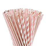 ALINK Biodegradable Rose Gold Pink Paper Straws, 100 Straws for Juice, Cocktail, Smoothies, Party Supplies, Birthday, Wedding, Bridal/Baby Shower Decorations and Holiday Celebrations
