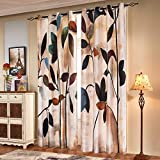 subrtex Printed Curtains Blackout for Bedroom Living Room Kids Room Dining Room Valance Colorful Window Drapes 2 Panel Set (52'' x 84'', Brown)