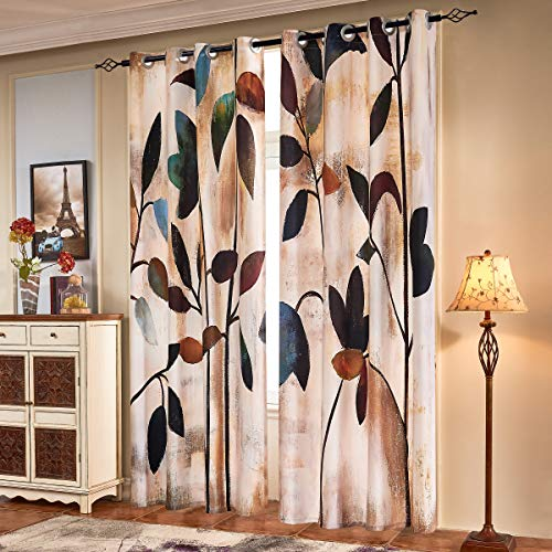 Subrtex Printed Curtains Blackout for Bedroom Living Room Kids Room Dining Room Valance Colorful Window Drapes 2 Panel Set (52'' x 63'' , Brown)