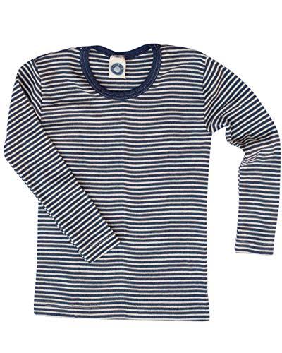 Cosilana Kinder Unterhemd Größe 92 in geringelt Marine-Natur - Verkauf von Wollbody