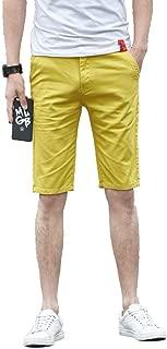 Plaid&Plain Men's Flat Front Skinny Shorts Men's Chino Shorts
