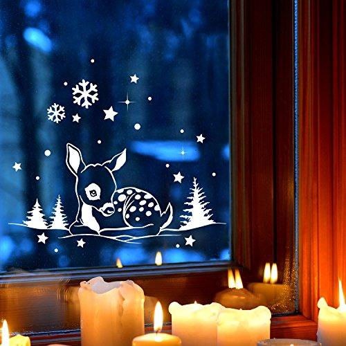 Fensterbild Wandtattoo REH im Schnee Gr XL 60x27cm Deko Winter Fensterdeko Schneeflocken Sterne und Punkte M2252