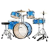 LAGRIMA 16 inch 5-Piece Complete Kids/Junior Drum Set with Adjustable Throne, Cymbal, Pedal & Drumsticks, Sparkles Bright Blue