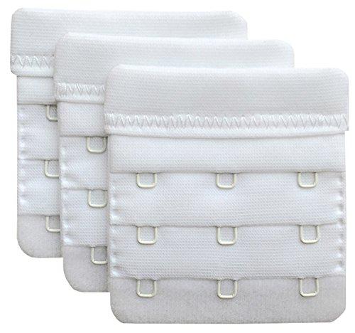 Chanie Damen Packung mit 3 Weich Komfortabel Erweiterung 3 Haken BH-Verlängerer, 6,1cm x 5,8cm