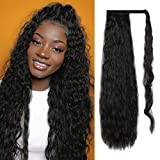 Sofeiyan Corn Wavy Curly Ponytail Extension 28 Inch Hair Fluffy Pony Tail Wrap Around Synthetic Black Long Hairpieces for Women Party Daily Use, off Black