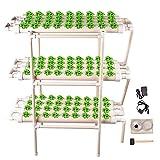 TOPQSC 3 Capas 108 Sitios 12 Tubería Kit de Cultivo Hidropónico Kit de Cultivo Sitio No Hidropónico Suelo Sistema Cultivo de Cultivo Hidropónico para Verduras, Ensaladas Verdes, Flores, Frutas
