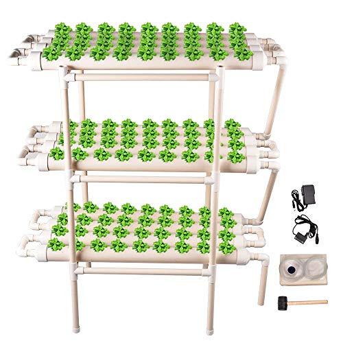 TOPQSC 3 Strati 108 Siti 12 Tubi Kit di Coltivazione Idroponica Nessun Kit per La Crescita del Sito Idroponico del Suolo Cultura Sistema di Coltura Idroponica per Verdure, Insalate, Fiori, Frutta