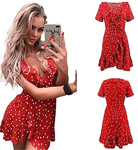 Vestito da Cocktail Donna Estivo Mini Vestito a Pois Scollo a V Abito a Vita Alta Linea ad A Casual Sexy Moda (Rosso, L)