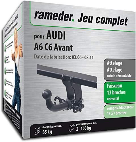 Rameder Pack, attelage rotule démontable + Faisceau 13 Broches Compatible avec Audi A6 C6 Avant (159724-05381-2-FR)