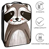 Nanmma Waterproof Shoe Bags Puches Storage Organizer-Double Layer,Cute Watercolor Painted Raccoon Style