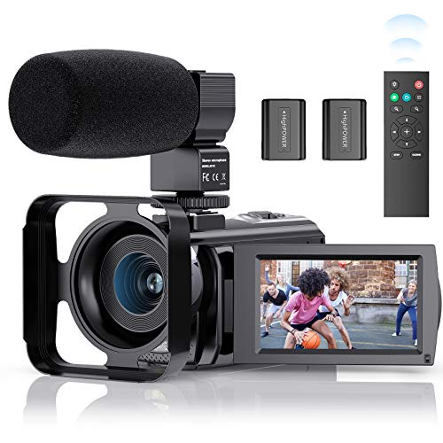 Video Camera Camcorder, FamBrow YouTube Camera FHD 1080P 24MP 16X Digital Zoom Camcorders Vlogging Camera 3.0 Inch IPS Screen Video Recorder with Microphone, 2.4G Remote, Lens Hood, 2 Batteries