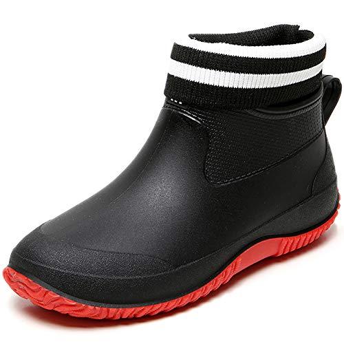 Acfoda Kurze Gummistiefel Damen Gefüttert Regenstiefel Herren Winter Warm Regenschuhe Outdoor Wasserdicht Garten Schuhe Gummi Rain Boots Slip On Arbeitsschuhe rutschfest Rot 40
