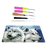 SM SunniMix Kits De Alfombra Wolf Latch Hook Alfombra Suave para Hacer Regalos De Bricolaje para Niños Niñas 12x20 ''