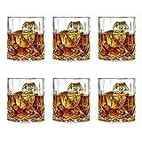 JOLIGAEA Whiskey Glass, Set of 6 Diamond Whiskey Tumbler Glasses