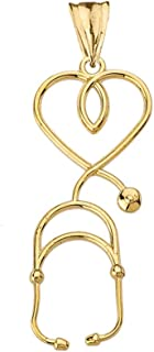 Fine 14k Yellow Gold Heart-Shaped Stethoscope Pendant