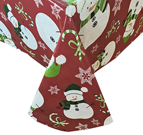 Snowman Red Snowflake Christmas Flannel Backed Vinyl Tablecloth - 52