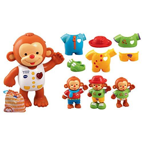 VTech - Armando el mono, Monito interactivo para aprender a vestirlo, enseña los colores, hábitos para vestirse, emociones, sentimientos y estimula los sentidos del tacto,auditivo y visual (80-129622)
