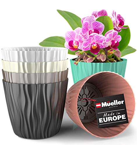 Mueller Plant and Flower Pot 6/1 Set, Heavy Duty 6 Inch European Made Stylish Indoor/Outdoor Decorative Planter, for All House Plants, Flowers, Herbs, White