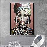 Viste a la mujer africana Cuadros Lienzo Pintura Carteles e impresiones Escandinavo Wall Art Picture for Living Room Home Decor60x80cm Sin marco
