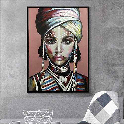 Viste a la mujer africana Cuadros Lienzo Pintura Carteles e impresiones Escandinavo Wall Art Picture for Living Room Home Decor60x80cm Sin marco
