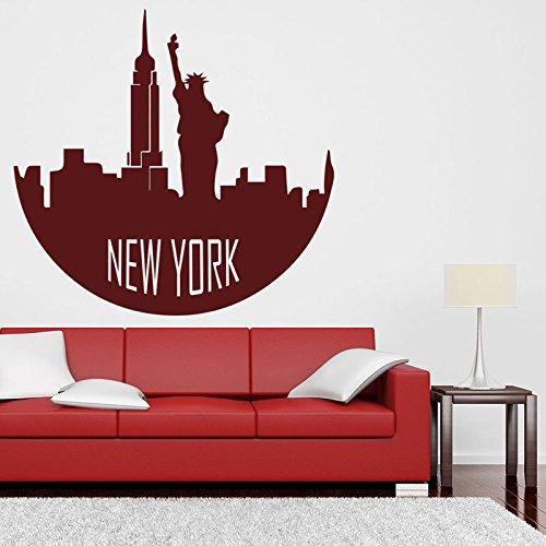 New York Silhouette Vinyl American City Skyline Wandtattoo Wohnzimmer Schlafzimmer Home Wand Kreative Dekoration Wasserdicht A5 65x57cm