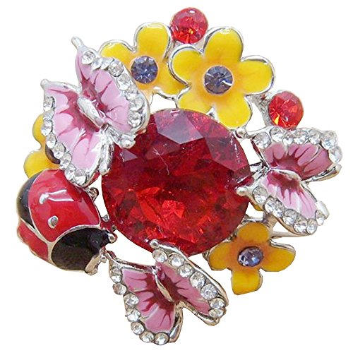 Claire Jin Verstellbar Blumen Schmetterling Marienkäfer Ring Damen Schmuck Strass Vintage Stein Ringe für Frauen (Rot)