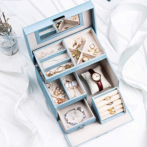 2 Capas Joyero Organizador Mujer,Cerradura Portable Caja Organizadora De Joyas con Gavetas Y Espejo Regalo para Niñas Chicas Adolescentes-b 22.8x16.8x14cm(9x7x6inch)