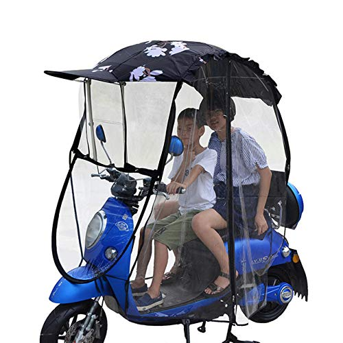 ZHANGZHIYUA Universal Motorcycle Umbrella Sun Shade Rain Cover,Fully Enclosed Electric Car Umbrella Canopy Waterproof,Motor Bicycle Sun Visor Windshield,B