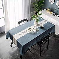 四角形のテーブルクロスポリエステルリネンの併用ポリエステルテーブルクロス、防塵、テーブルクロス、装飾的なキッチン、カフェ、ダイニングテーブル。 テーブル服 WANGSHAOFENG (Color : Blue, Size : 135*260cm)