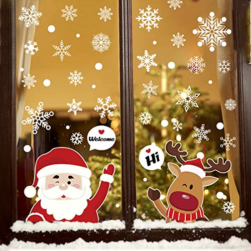 Hidreas 187 Pcs Christmas Snowflake Window Clings Stickers, Xmas Window Decals for Christmas Window Decorations (8 Sheets)
