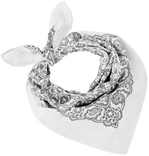 Tobeni 548 Femme Homme Tête-Chiffons en Tissu Nicki Foulards Écharpe Bandana 100% Coton Unisexe Couleur Paisley Blanc Taille 54 cm x 54 cm