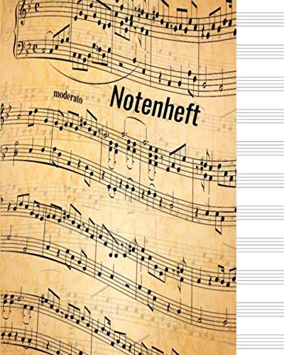 Notenheft: Notizbuch für Musiker Geschenk, 60 Seiten, 20,32 x 25,4 cm,Weiche Abdeckung, Matte Finish Perfekt zum Lernen/Piano / Flöte / Gitarre/ Violine.