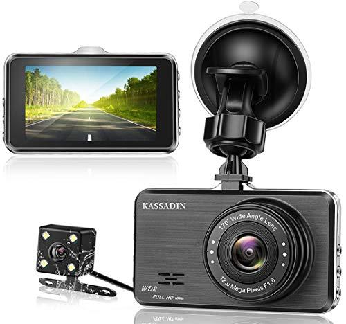Kassadin Armaturenbrett-Kamera vorne und hinten für Autos 1080P Full HD Dual Dashcam Dashcam 170 Weitwinkel mit Nachtsicht, 7,6 cm IPS-Display, Bewegungserkennung und G-Sensor