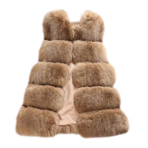 Gladiolus Damen Warm Jacke Weste Faux Pelz Lang Felljacke Oberteile Parka Outerwear Kamel S