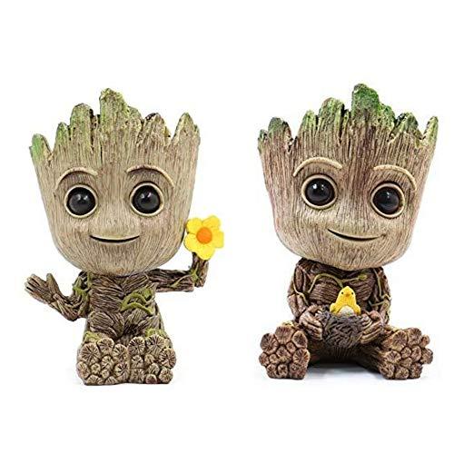 2 piezas Baby Groot Flower Pot Pen Pot PVC Hero Modelo Guardianes de la galaxia Manualidades Figura Decoración del hogar (R)